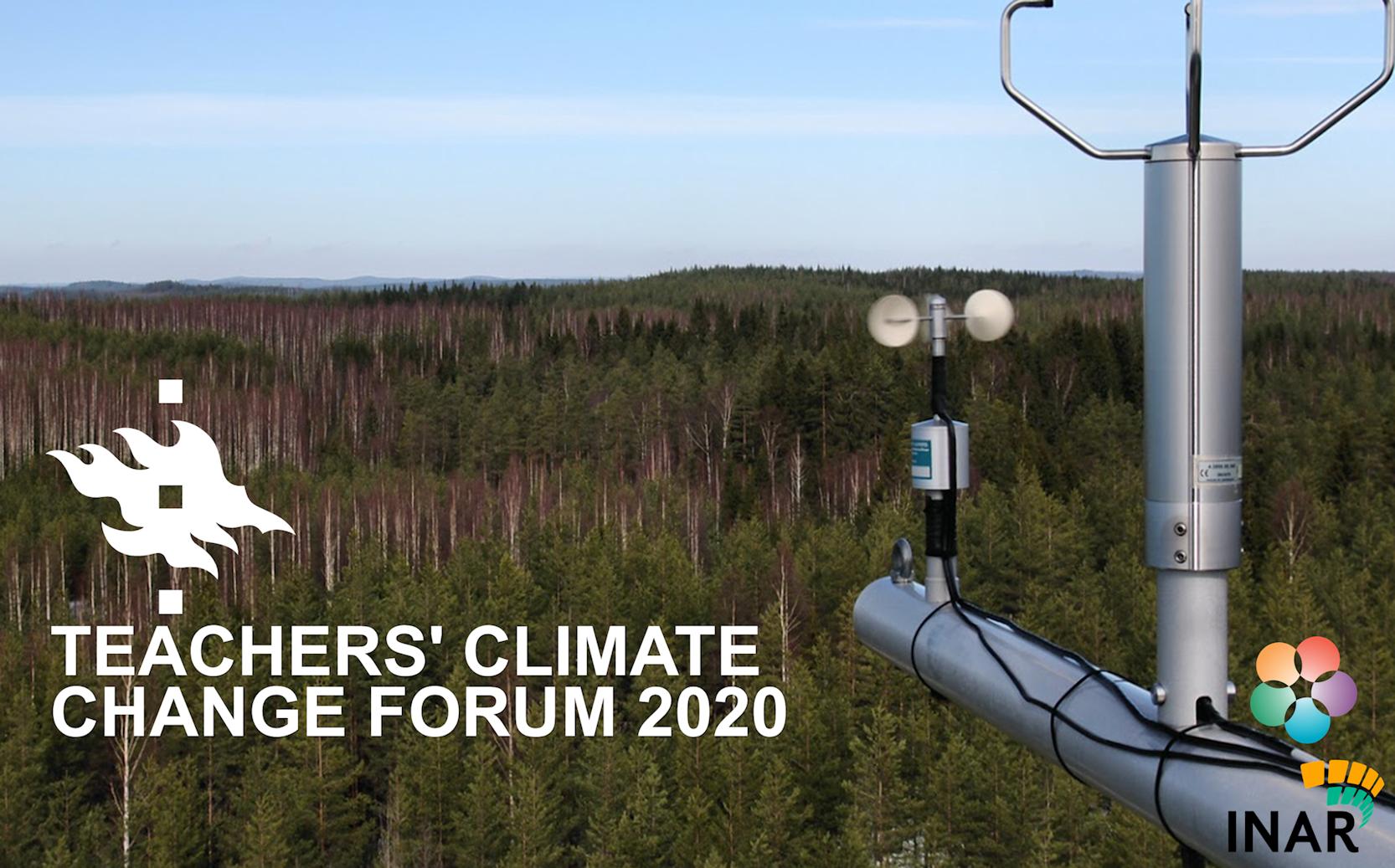 Teachers' climate change forumin 2020 bannerissa on kuvattu Hyytiälän metsäasemaa.