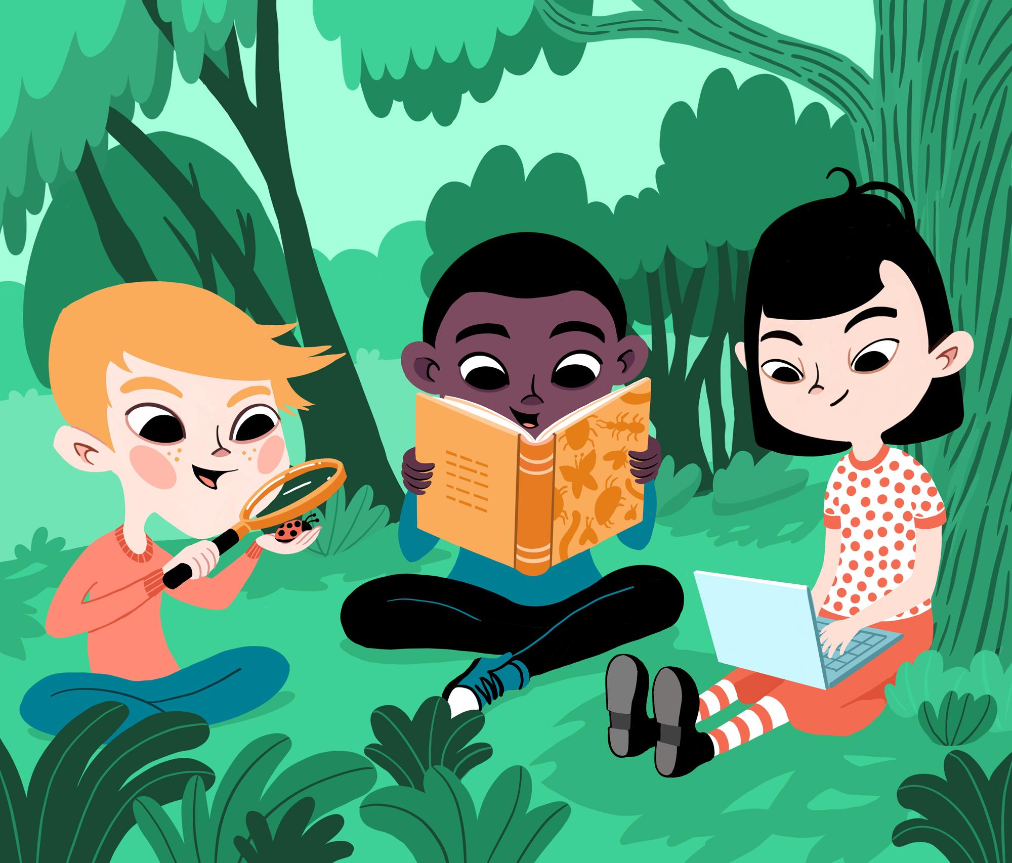 Kuvitusgrafiikkaa, jossa kolme lasta tutkivat luontoympäristössä.