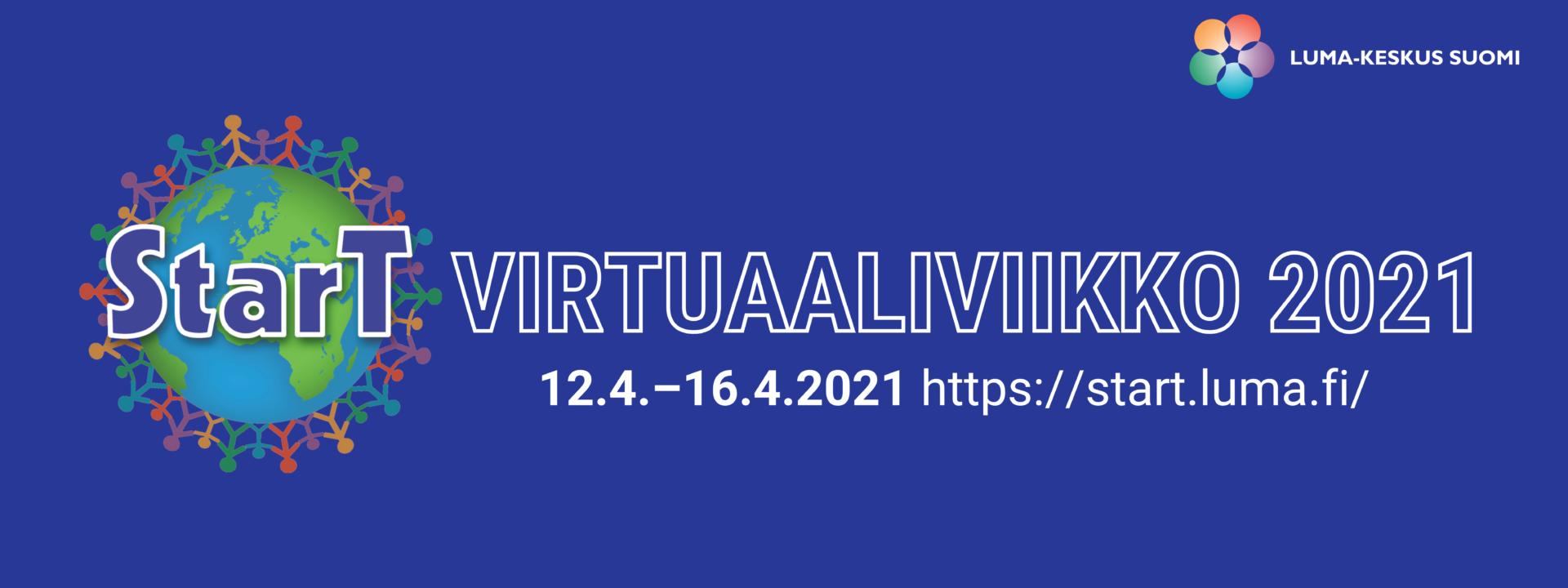 StarT virtuaaliviikon 2021 logo. Virtuaaliviikko järjestetään 12.4.-16.4.2021.