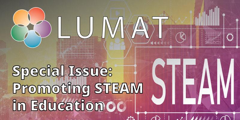 """STEAM lähestymistapa yhdistää useita eri oppiaineita. LUMAT-erikoisnumeron """"Promoting STEAM in Education"""" kansikuvassa on kuvattu näitä eri lähestymistapoja."""