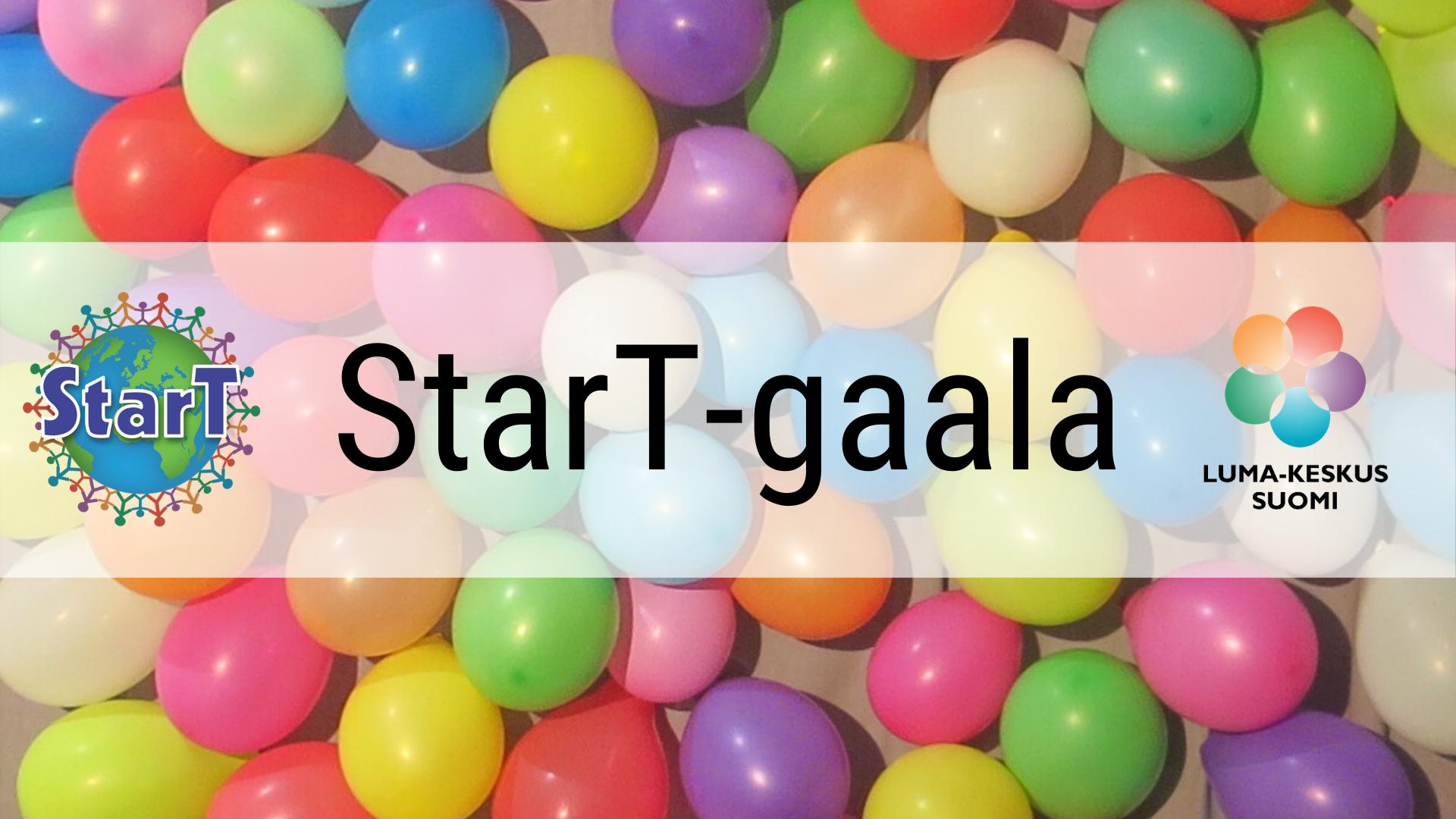 StarT-gaala -teksti ilmapallotaustan päällä.